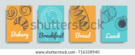Bakery frame illustration. Hand drawn sketch with bread, sweet, coffee. Bakery set vector illustration