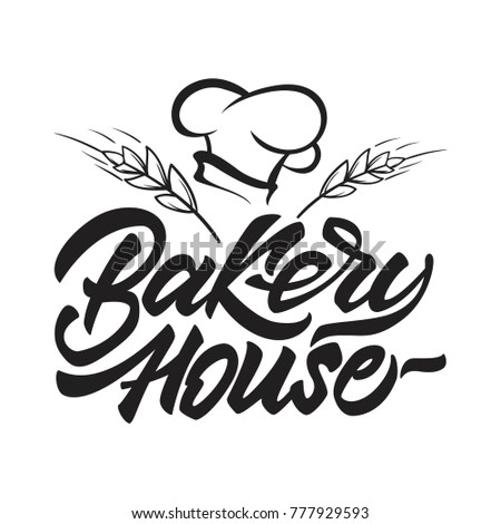 Bakery house logo in lettering style with chef's hat and cereals. Vector illustration. Foto d'archivio ©