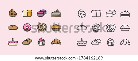 Bakery icon set. Bakery collection of simple outline signs. Fresh baking symbol in flat style. Toast, baguette, bun contour flat icons design. Isolated on white concept vector Illustration