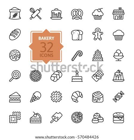 bakery icon set   outline icon