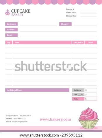 bakery invoice template stock vector illustration 239595112 shutterstock. Black Bedroom Furniture Sets. Home Design Ideas