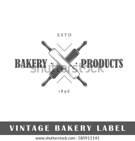 Bakery label isolated on white background. Design element. Template for logo, signage, branding design. Vector illustration