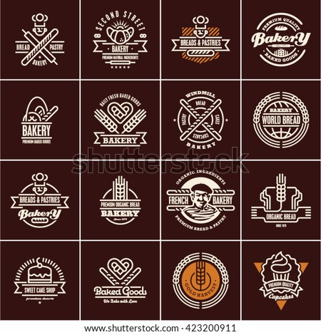 bakery labels isolated on black background, bakery logo, bakery icons set, bread, pastry