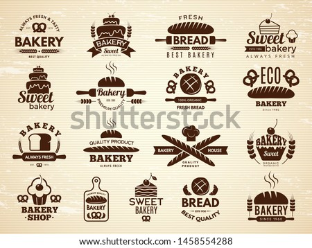 Bakery labels. Pastry and cupcakes cafe icons kitchen food bakery products vector illustrations. Bakery food emblem, product bake emblem shop
