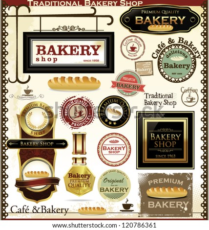 Bakery labels retro style