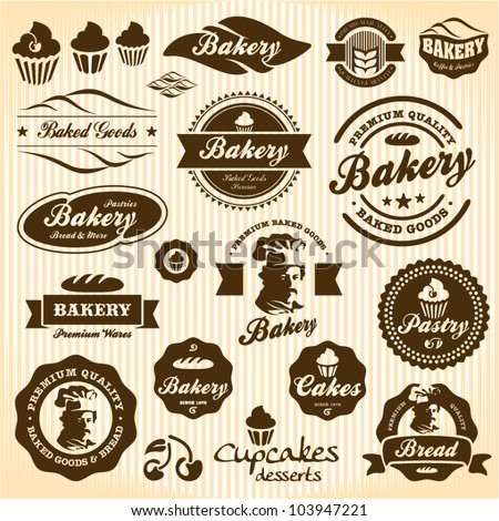 Bakery labels retro style vintage set