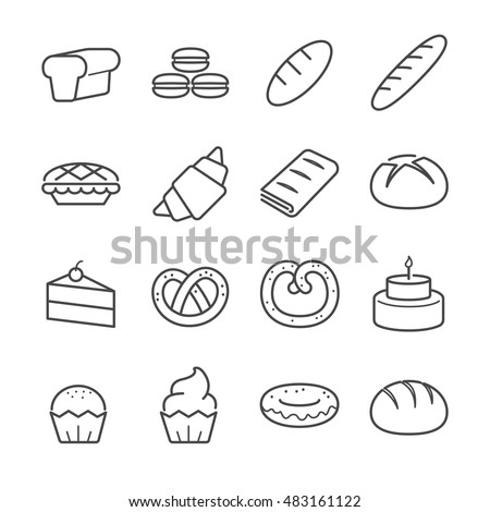 bakery line icons included the