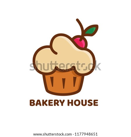 Bakery logo in retro colors. Fruitcake or cherry cake icon for confectionery, cafe, shop