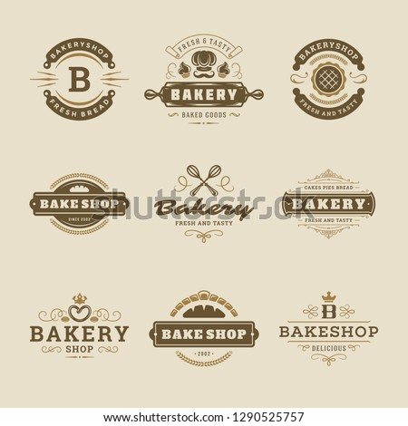 Bakery logos and badges design templates set vector illustration. Good for bakehouse and cafe emblems. Retro typography elements and silhouettes.