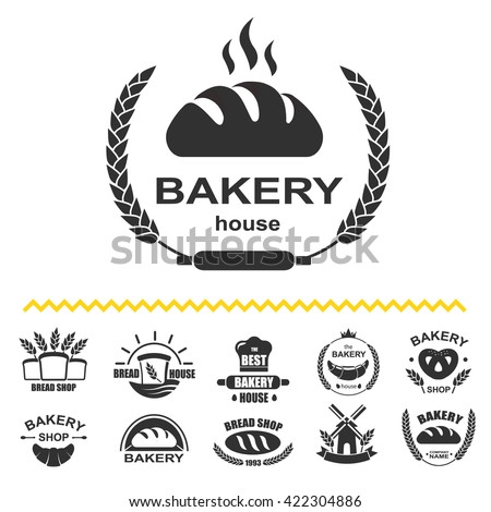 Bakery logos with fresh bread, pretzel, loaf and mill. Vector bakery icon set isolated.