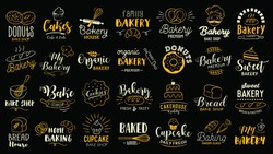 Bakery logotypes set. Bakery typography, logos, badges, labels, icons and objects.