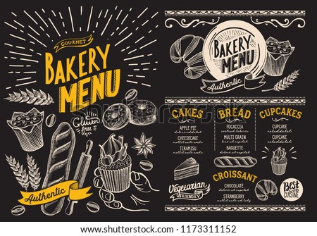 Bakery menu for restaurant design template on blackboard with food hand-drawn graphic illustrations vector food flyer for bar and cafe
