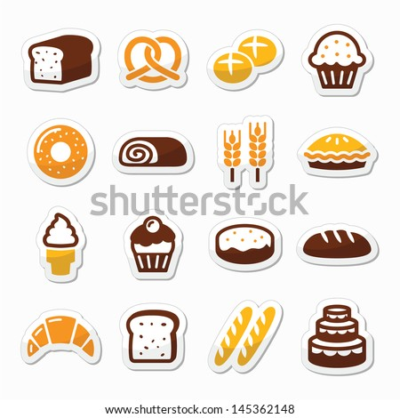 Bakery pastry icons set bread donut cake cupcake