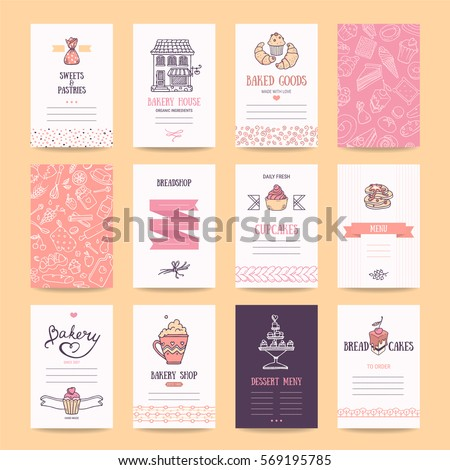 Bakery & pastry shop business cards, cafe poster, restaurant menu, food flyers. Artistic templates collection with hand drawn design elements: bakehouse logo, cake, pancake icons, sweets pattern.