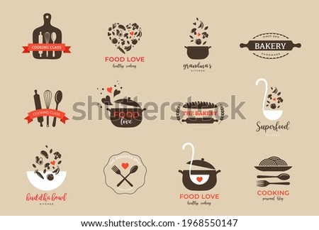 Bakery, pastry shop, food and cooking logo and branding. Healthy, vegan and vegetarian food concept design