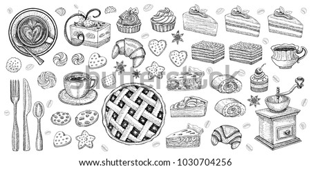 Bakery pastry sweets desserts objects collection shop cafe poster restaurant menu food. Scarpbook hand drawn vector design elements bakehouse cake pie pie sweets icons stickers labels.
