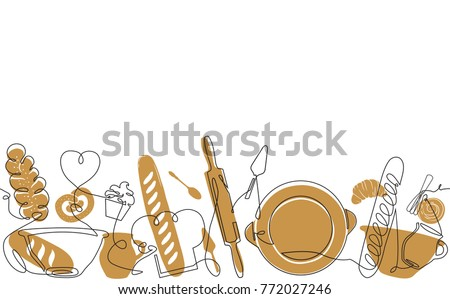 Bakery Pattern. Bread house Background. Vector illustration.