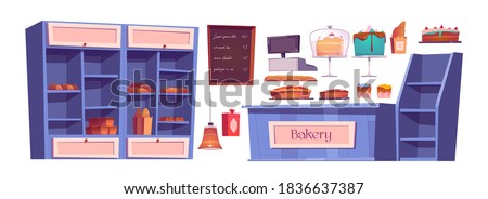 Bakery products and bake house interior stuff, confectionery shop. Wooden shelves with sweets, cakes, cupcake on trays and fresh bread. Chalkboard menu, cashier desk, lamp cartoon vector icons set