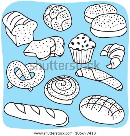 Bakery products, bread and cereal goods - hand-drawn illustration