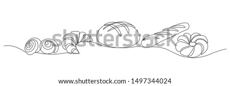 Bakery products in continuous line art drawing style. Black line sketch on white background. Vector illustration Stockfoto ©
