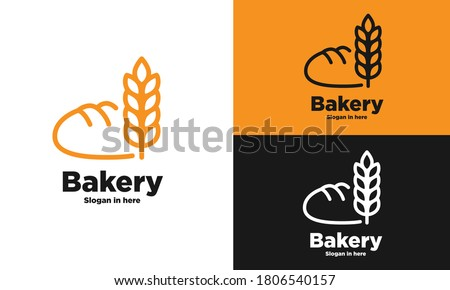 Bakery products premium quality label. Vector icon of brown rye bread bun bagel, wheat ears, with text. Bakery shop bread logo design