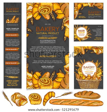 Bakery products restaurant menu page template bakery vector illustration