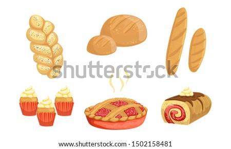 Bakery Products Set, Bread, Loaf, Hala, Cupcake, Pie, Roll Vector Illustration Stok fotoğraf ©