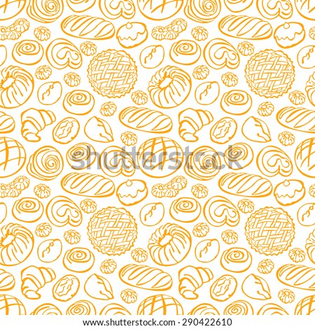 Bakery products. Vector seamless pattern (background).
