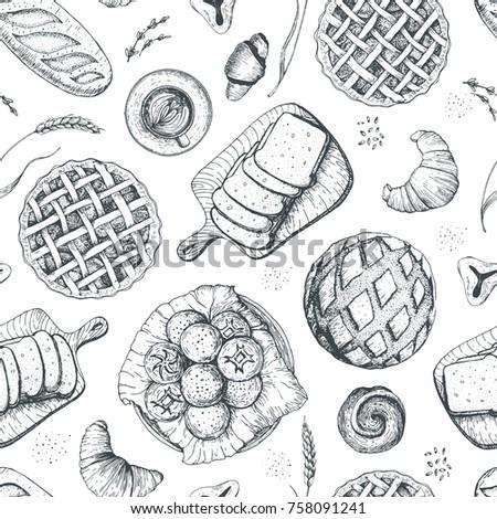 bakery seamless pattern food