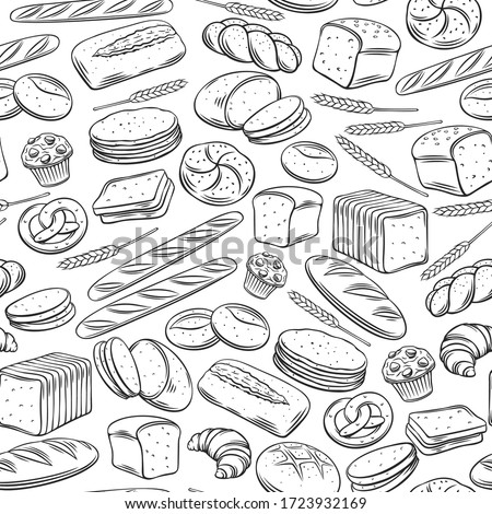 Bakery seamless pattern. Outline vector background rye, whole grain and wheat bread, pretzel, muffin, pita , ciabatta, croissant, bagel, toast bread, french baguette for design menu bakery.