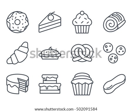 Bakery Set Icon Food Outlined