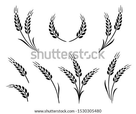 bakery set of wheat ears icon logo Foto stock ©