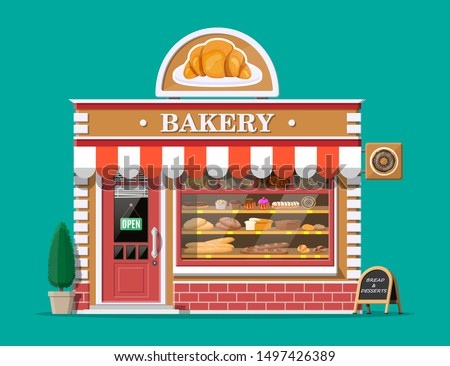 Bakery shop building facade with signboard. Baking store, cafe, bread, pastry and dessert shop. Showcases with various bread and cakes products. Market or supermarket. Flat vector illustration