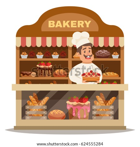 Bakery shop design concept with chef in hat standing behind the counter and offering pastries flat vector illustration