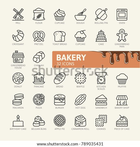 Bakery shop elements - minimal thin line web icon set. Outline icons collection. Vector illustration.
