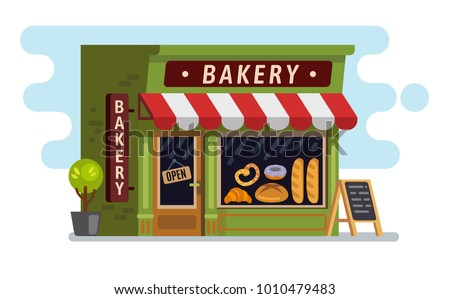 Bakery shop house. Cafe, building Vector flat