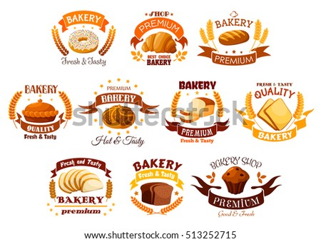 Bakery shop icons of bread and pastry dessert. Vector symbols of donut, croissant, wheat bread bagel, meat and sweet pie, rye bread loaf, chocolate muffin. Ribbon, star for bakery, pastry, patisserie