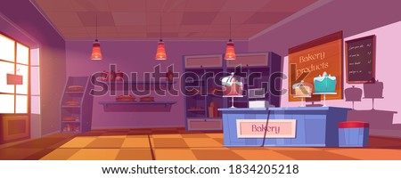 Bakery shop interior with cakes, bread and pastry on showcase and shelves. Vector cartoon illustration of bakery store with cashbox and sweet pies on counter at morning