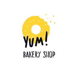 Bakery shop. Logo concept for bakery. Vector illustration of donats. Phrase Yum. White background.