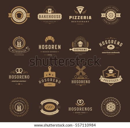Bakery Shop Logos, Badges and Labels Design Elements set. Bread, cake, cafe vintage style objects retro vector illustration.