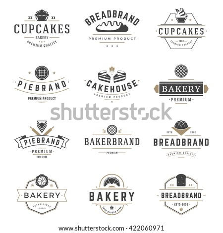 Bakery Shop Logos Templates Set. Vector object and Icons for Pastries Labels, Bread Badges, Emblems Graphics.