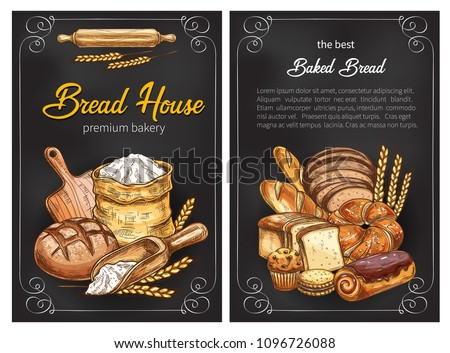 Bakery shop sketch posters design of bread, flour sack bag and sweet baked pastry. Vector wheat loaf and rye bagel or chocolate croissant, baguette and toast for baker store premium design