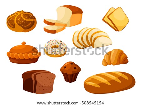Bakery shop vector icons. Baked bread products wheat, rye bread loafs, bagels, sliced bread toasts, croissant, chocolate muffin, donut, meat and fruit pie. Elements for bakery, pastry design