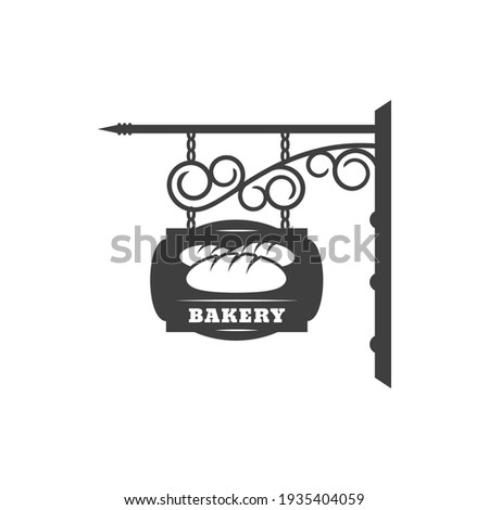 Bakery shop vintage signboard with metal chain and forged ornaments isolated hanging bread store sign. Vector antique bakery signage, fresh buns and loaf, baked food retro black street signboard Сток-фото ©