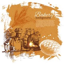 Bakery sketch background. Vintage hand drawn illustration
