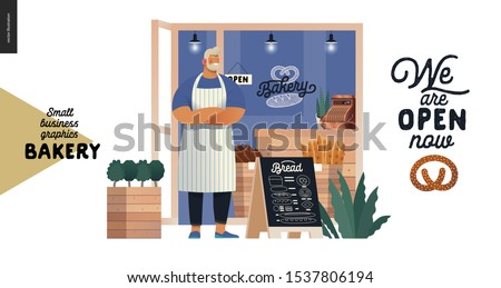 Bakery -small business illustrations -bakery owner -modern flat vector concept illustration of a baker wearing apron in front of the shop facade, pavement sign - blackboard with offering