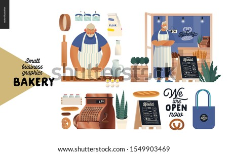 Bakery -small business illustrations -bakery set - modern flat vector concept illustration of a baker kneading the dough. Baker wearing apron in front of the shop facade, bakery elements