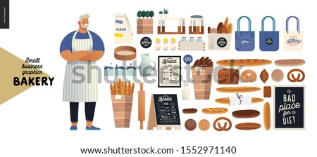 Bakery -small business illustrations - modern flat vector concept illustration of baker wearing apron, bread, logo, cash register, bakery utencils, interior and branded elements - constructor set