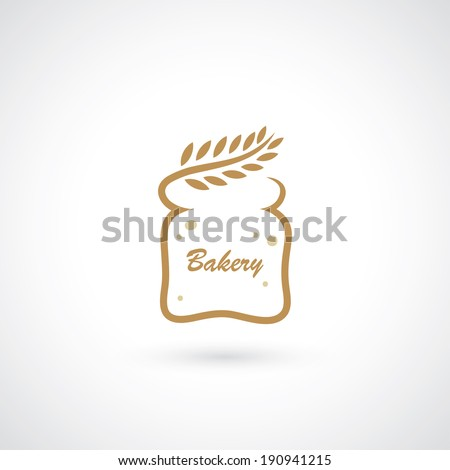 Bakery symbol wheat and bread slice vector illustration