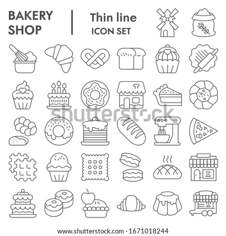 Bakery thin line icon set. Bakery shop signs collection, sketches, logo illustrations, web symbols, outline style pictograms package isolated on white background. Vector graphics